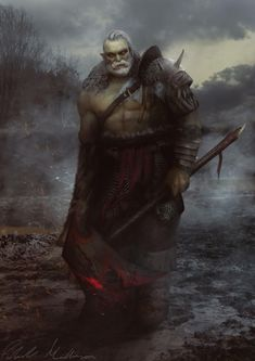 m Half Orc Barbarian Medium Armor Cloak WarHammer male Wilderness Traveler deciduous forest swamp lg Orc Warrior, Fantasy Warrior, Fantasy Rpg, Dark Fantasy Art, Medieval Fantasy, Dnd Characters, Fantasy Characters, Character Portraits, Character Art