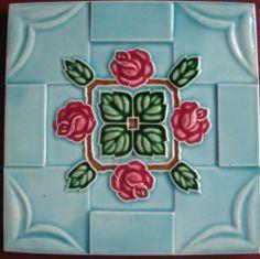 vintage japanese Made.. by M S tile works...art nouveau  moulded ..tile  #ArtNouveau