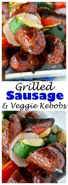 Grilled Sausage and Vegetable Kebobs - fire up the grill, use Polish Sausage and your favorite veggies, to make these easy  kebobs for dinner or for your get togethers this