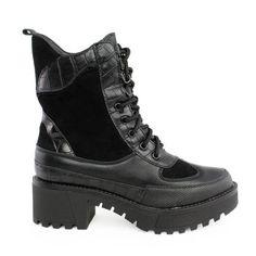 Αρβυλάκια Freya suede κροκόαπό συνθετικό δέρμα σε μαύρο χρώμα και suede και κροκό λεπτομέρειες.Διαθέτουν μαύρα κορδόνια καθώς και φερμουάρ στο εσωτερικό .. All Black Sneakers, Hiking Boots, Shoes, Fashion, Walking Boots, Moda, All Black Running Shoes, Zapatos, Shoes Outlet