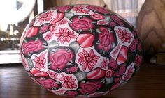 This is another ostrich egg shell covered completely in polymer clay.