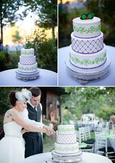 Creative wedding cake with blue and green details, photo by Athena Kalindi Photography   junebugweddings.com