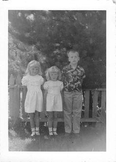 Photograph Snapshot Vintage Black and White Boy 2 Girls Dress Line 1950'S | eBay