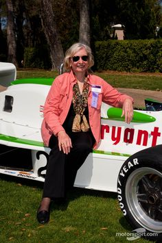 Janet Guthrie and the car she drove (very well) at the Indy 500.