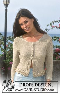 "Cardigan DROPS con top abbinato in ""Cotton Viscose"" ~ DROPS Design"