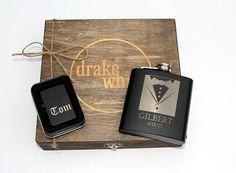 Groomsman Cigar Box  Flask  Lighter Gift Set  by TheSmilinBride