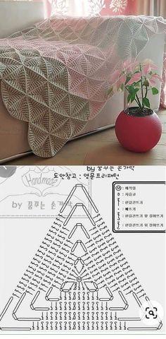 Crochet Bedspread Pattern, Crochet Quilt, Crochet Stitches Patterns, Crochet Motif, Knitting Patterns, Mode Crochet, Crochet Home, Diy Crochet, Crochet Triangle