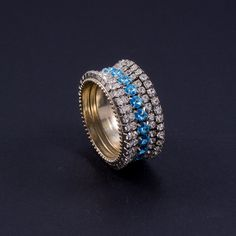 Napkin Rings Featuring Clear and Aquamarine Swarovski © Crystals | Set of 4