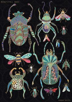 "Illustration UK : Hannah Davies, ""Bugs in gold"", scarabées, insectes, animaux"