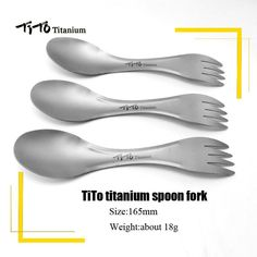 TiTo Outdoor Camping titanium Spoon Tableware Fork Ultralight Outfly Spork