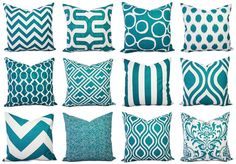Turquoise Pillow Covers Two Turquoise and by CastawayCoveDecor