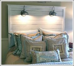 your own headboard. Attach wall lights to it instead of your walls to minimize damage an. Farmhouse Queen size headboard with lights. Handcrafted from repurposed… Headboard Pallet Furniture Reclaimed Barn Wood Head Boards Unique Headboards, Headboard Ideas, Beach Style Headboards, Bedroom Headboards, Home Bedroom, Bedroom Decor, Bedroom Ideas, Make Your Own Headboard, Diy Casa