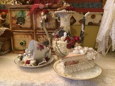 Altered Tea pot, Tea cup and slice of cake. DT projects for http://www.zibbet.com/NatashaScrapbooKorner