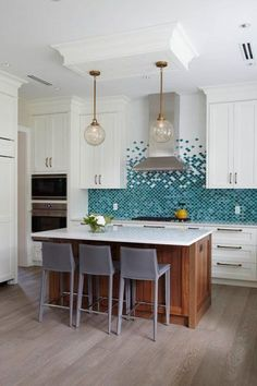 Fish Scale Tile Backsplash - Design photos, ideas and inspiration. Amazing gallery of interior design and decorating ideas of Fish Scale Tile Backsplash in dining rooms, bathrooms, kitchens by elite interior designers. Kitchen Interior, New Kitchen, Kitchen Decor, Kitchen Island, Modern Kitchen Tiles, Kitchen Layout, Rustic Kitchen, Bathroom Interior, Kitchen Ideas