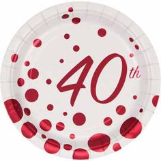 Sparkle and Shine 40th Dessert Plates – 7 inch, 8 count