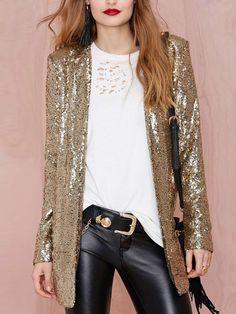 Women Gold Sequin Boyfriend Suit Coat 43.00