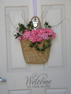 Our Front Door.  ;-)   Hmmm, it needs something else on the straw purse