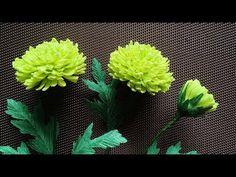 ABC TV | Cómo hacer la flor de papel de crisantemos verdes de papel Crepe - Tutorial de artesanía - YouTube