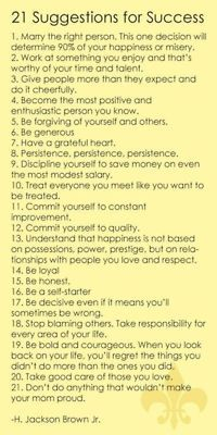 21 suggestions on success.