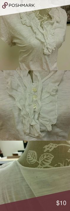 White Tee Ann Taylor Loft t-shirt, size XL. Solid white not off white. Great for layering with a sweater. So great that I guarantee that's how I wore it last, and now I hate my teal sweater because it lint-exploded all over this shirt. Three lint sheets later, I give. EUC but it might have a couple more fuzzes. LOFT Tops Tees - Short Sleeve
