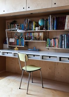 <strong>Shelf life: the bespoke desk in a children's study. </strong>