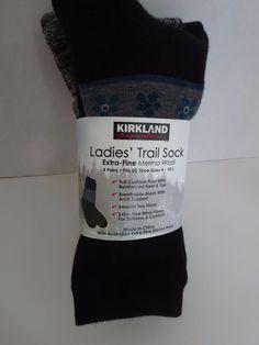 4 Pair Kirkland Signature Ladies Trail Socks Extra Fine Merino Wool Women Prints…