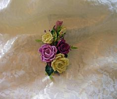 Ribbonwork Accessory Yellow, Violet, Plum Roses Corsage Wedding Hair Accessory Floral pin Millinery flowers with Vintage Stamens, Crystals by AddABloomBoutique on Etsy