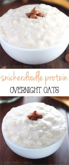 Snickerdoodle Protein Overnight Oats -- just 6 healthy ingredients & 16g+ of protein! They have the texture of cake batter & taste like buttery snickerdoodle cookies!