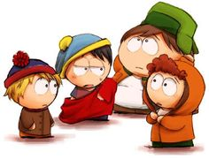 South Park - Swapped Clothes (Kenny wearing Stan's, Stan wearing Cartman's, Cartman wearing Kyle's, Kyle wearing Kenny's.)