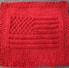 Knitting Pattern for American Flag Dish or Wash Cloth - The flag has 13 stripes and uses moss stitch to create stars in the upper corner — although there are not quite 50 of them.