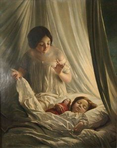 "Sophie Gengembre Anderson, French-born British artist, 1823-1903. Oil on canvas genre scene entitled ""Sweet Dreams"" depicts a young mother as she checks on her sleeping daughter with doll held in her arm."