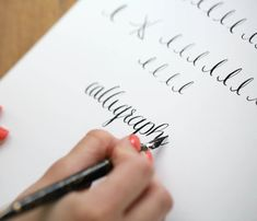 Learn calligraphy online - free - with this easy step-by-step tutorial & complimentary printables.