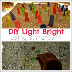 DIY Light Bright using styrofoam on the light table from And Next Comes L