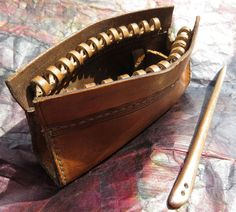 bronze age leather zip pouch