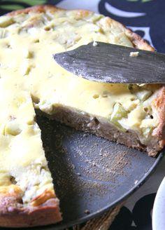 Vatsan vapaapäivä: Treenaajan raparperitorttu Fodmap Recipes, Hawaiian Pizza, Stevia, Camembert Cheese, Mashed Potatoes, Healthy, Ethnic Recipes, Food, Desserts