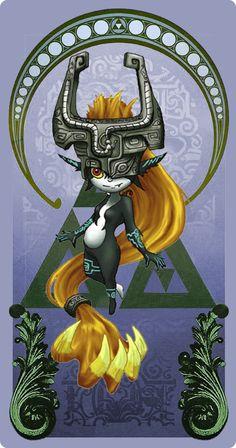 Link And Midna, Link Zelda, Legend Of Zelda, Aliens, Card Game, Zelda Twilight Princess, Art Reference, Videogames, Art Nouveau