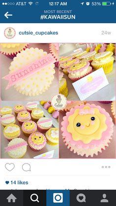 Kawaii sun cupcakes Sunshine Birthday Parties, 2nd Birthday Parties, Twin Birthday, First Birthday Cakes, Sunshine Cupcakes, Sun Cake, Baby Shower Games For Large Groups, Sunshine Baby Showers, Bday Girl