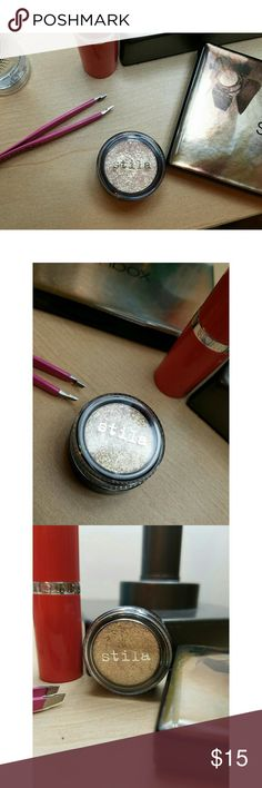 Stila magnificent metals in Pixie Dust Brand new Stila magnificent metals in Pixie Dust. Never been used. Deluxe travel size! This is a gorgeous foil/glitter eyeshadow.  Best used with glitter glue, but can and will stick to skin on its own. Sephora Makeup Eyeshadow
