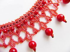 Free pattern for necklace Red Berry | Beads Magic