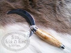 Handmade Oak Cresent Boline Herb Cutter Acorn by SteelStickNStone
