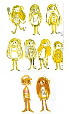 Concept art for the two main characters, Mabel and Dipper Pines.