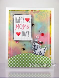 Copic and Distress Ink card using the Mama Elephant - Love Quotes stamp set with matching die along with the Lawn Fawn - Critters at the Dog Park, Milo's and Sally's ABCs. Made by Kelli