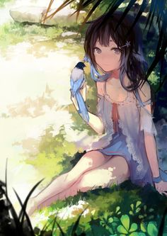 ✮ ANIME ART ✮ animal. . .anime girl with animal. . .bird. . .blue tipped hair. . .dress. . .lace. . .tree. . .leaves. . .nature. . .sunlight. . .cute. . .kawaii
