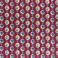VTG Waverly Schumacher Fabric Picnic 100% Cotton Red Chintz 5 yd Upholstery USA #Waverly