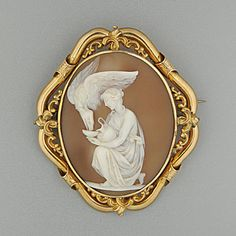 A late Victorian shell cameo brooch, Hebe & the Eagle of Zeus.