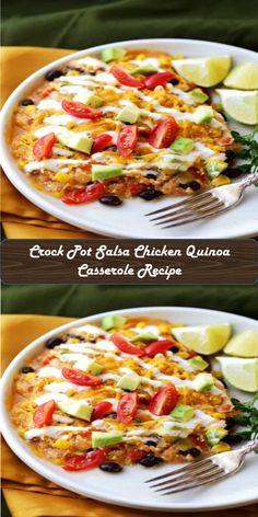 Crock Pot Salsa Chicken Quinoa Casserole Recipe #Crock #Pot #Salsa #Chicken #Quinoa #Casserole #Recipe Salsa Chicken, Fajitas, Quinoa, Potato Salad, Casserole, Crockpot, Ethnic Recipes, Sweet, Food