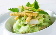 Olive Oil poached cod w/za'atar and cilantro sauce at Daniel in NYC