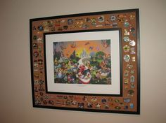 love this idea for displaying pins we don't want to trade...maybe even with a pic of us @ Disney in the middle.