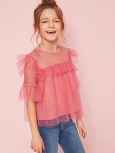 To find out about the Girls Ruffle Trim Keyhole Back Dot Mesh Top at SHEIN, part of our latest Girls Blouses ready to shop online today! Black Kids Fashion, Cute Kids Fashion, Girls Fashion Clothes, Baby Girl Fashion, Look Fashion, Girls Summer Outfits, Cute Girl Outfits, Moda Junior, Cute Little Girl Dresses