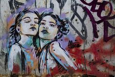 These two girls seem to be sisters, posing and have a seemingly close relationship. There is not a lot of detail but the pink shading makes them seem youthful and innocent, and nice contrast to some of the darker or more seductive portrayals of woman in street art. This could also highlight the bond that woman share with each other.